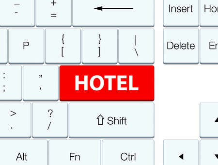 guest house: Hotel isolated on red keyboard button abstract illustration