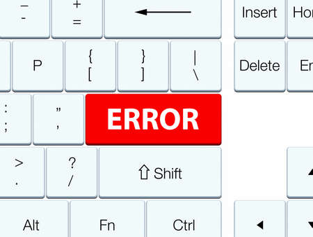 Error isolated on red keyboard button abstract illustration Stock Photo