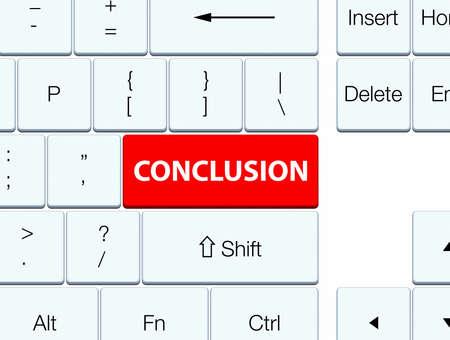 Conclusie op de rode abstracte illustratie die van de toetsenbordknoop wordt geïsoleerd