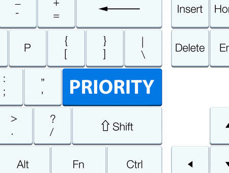 Priority isolated on blue keyboard button abstract illustration