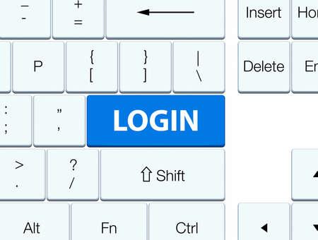Login isolated on blue keyboard button abstract illustration Reklamní fotografie