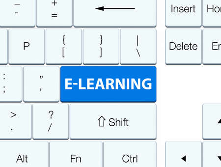 word: E-learning isolated on blue keyboard button abstract illustration