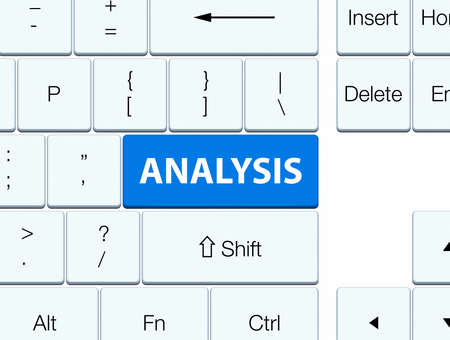 word: Analysis isolated on blue keyboard button abstract illustration