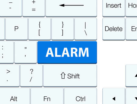 word: Alarm isolated on blue keyboard button abstract illustration