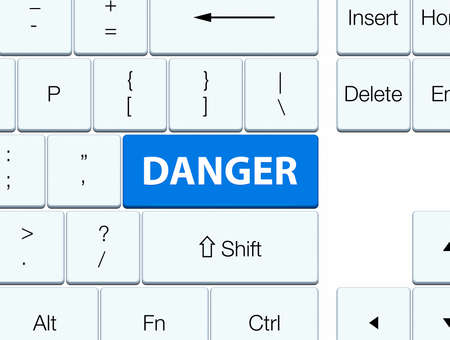 hazard: Danger isolated on blue keyboard button abstract illustration Stock Photo