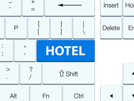 word: Hotel isolated on blue keyboard button abstract illustration