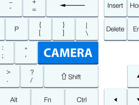 image: Camera isolated on blue keyboard button abstract illustration