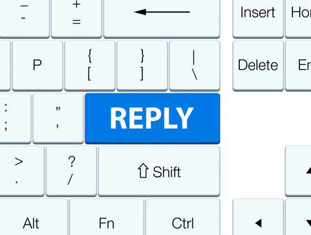 Reply isolated on blue keyboard button abstract illustration