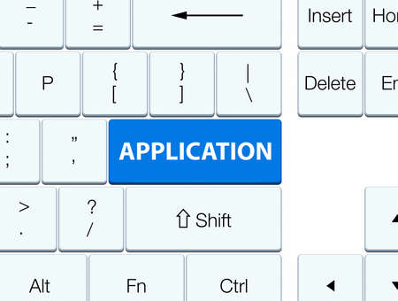 Application isolated on blue keyboard button abstract illustration Stock Photo