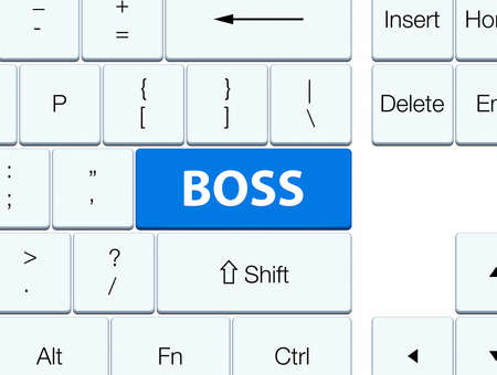 Boss isolated on blue keyboard button abstract illustration