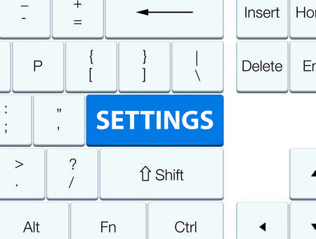 configure: Settings isolated on blue keyboard button abstract illustration