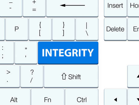 Integrity isolated on blue keyboard button abstract illustration
