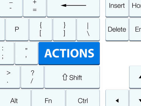 Actions isolated on blue keyboard button abstract illustration
