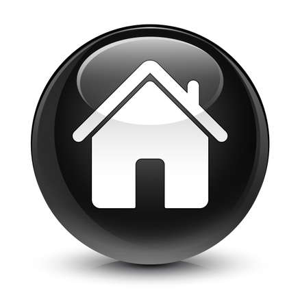 forme: Home icon isolated on glassy black round button abstract illustration
