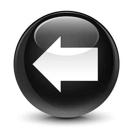 forme: Back arrow icon isolated on glassy black round button abstract illustration