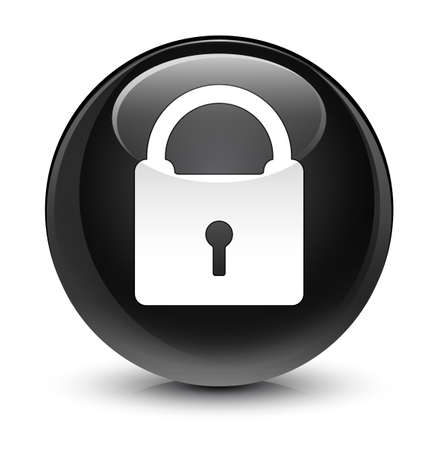 glassy: Padlock icon isolated on glassy black round button abstract illustration