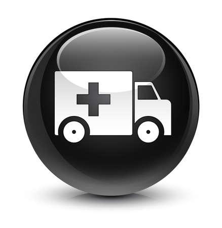 medical illustration: Ambulance icon isolated on glassy black round button abstract illustration Stock Photo