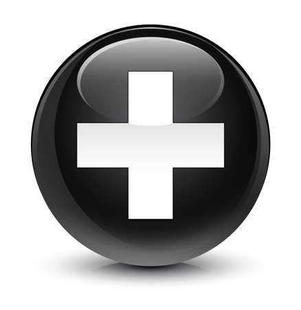 cross: Plus icon isolated on glassy black round button abstract illustration