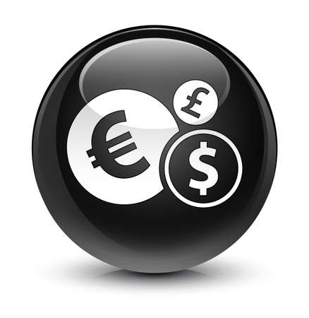 forme: Finances icon isolated on glassy black round button abstract illustration