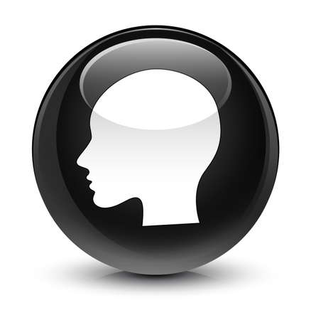 face to face: Head woman face icon isolated on glassy black round button abstract illustration