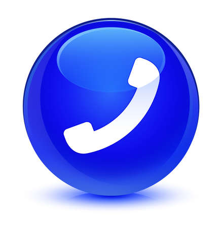 Phone icon isolated on glassy blue round button abstract illustration