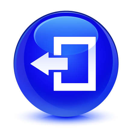 Logout icon isolated on glassy blue round button abstract illustration