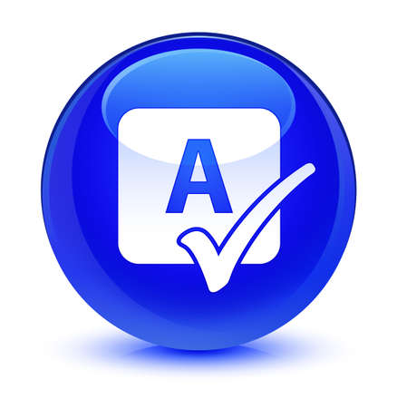 review: Spell check icon isolated on glassy blue round button abstract illustration Stock Photo