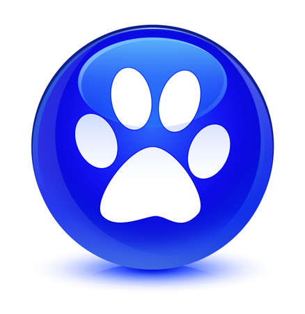 footmark: Animal footprint icon isolated on glassy blue round button abstract illustration Stock Photo