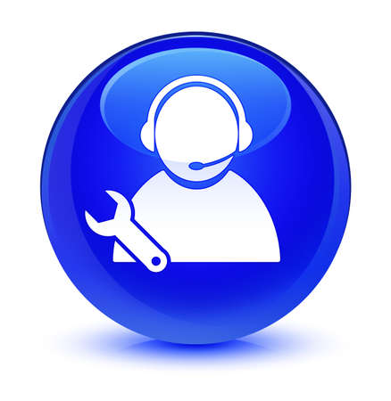 Tech support icon isolated on glassy blue round button abstract illustration