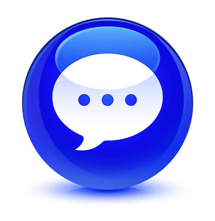 Conversation icon isolated on glassy blue round button abstract illustration Stock Photo