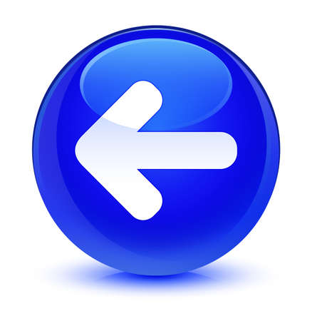 Back arrow icon isolated on glassy blue round button abstract illustration