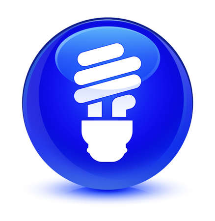 lamp light: Bulb icon isolated on glassy blue round button abstract illustration
