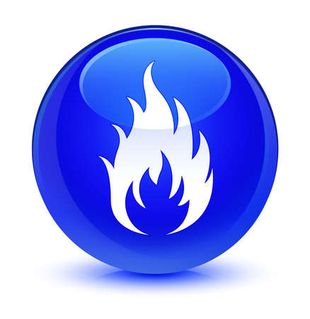 Fire icon isolated on glassy blue round button abstract illustration