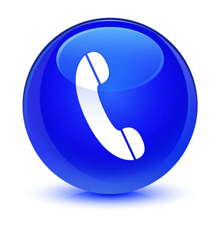 contact: Phone icon isolated on glassy blue round button abstract illustration