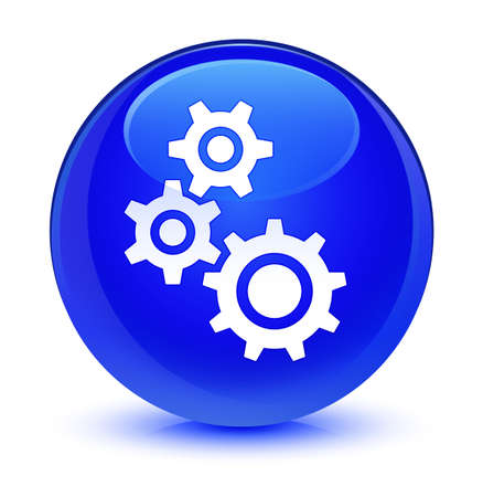 gearwheel: Gears icon isolated on glassy blue round button abstract illustration