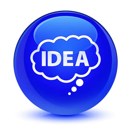 Idea bubble icon isolated on glassy blue round button abstract illustration Stock fotó