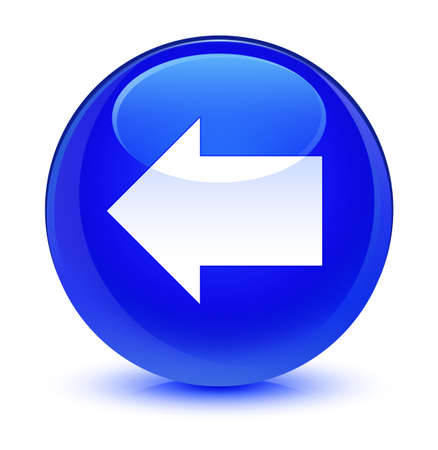 forme: Back arrow icon isolated on glassy blue round button abstract illustration