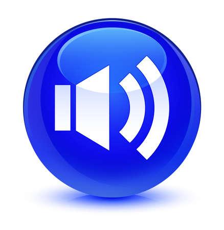 Volume icon isolated on glassy blue round button abstract illustration Standard-Bild