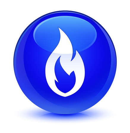 Fire flame icon isolated on glassy blue round button abstract illustration