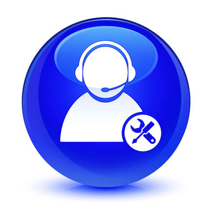 customer: Tech support icon isolated on glassy blue round button abstract illustration