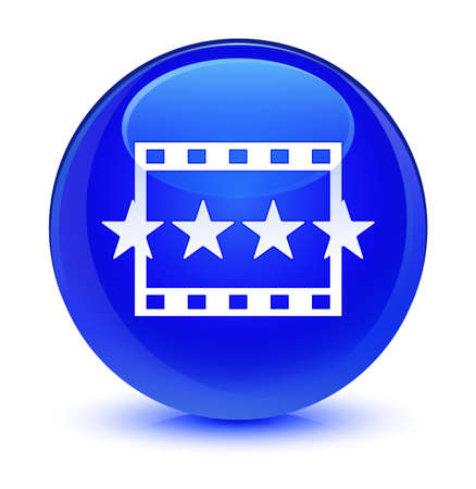 review: Movie reviews icon isolated on glassy blue round button abstract illustration Stock Photo