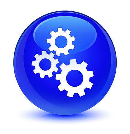 Gears icon isolated on glassy blue round button abstract illustration