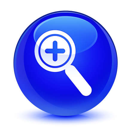 forme: Zoom in icon isolated on glassy blue round button abstract illustration