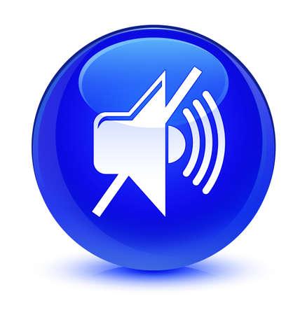 ミュート ボタンの抽象的なイラスト ラウンド ガラス青に分離された音量アイコン