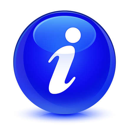 forme: Info icon isolated on glassy blue round button abstract illustration