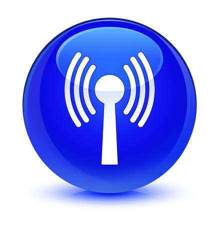 antennas: Wlan network icon isolated on glassy blue round button abstract illustration Stock Photo