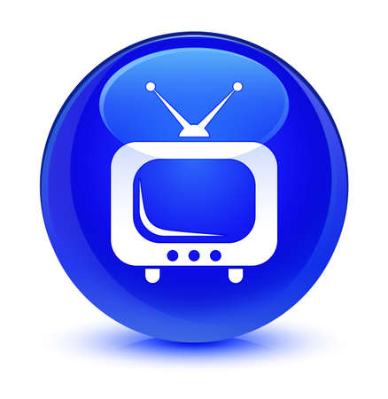 forme: TV icon isolated on glassy blue round button abstract illustration