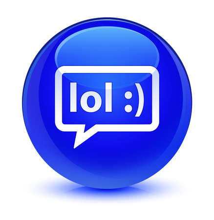 laughing out loud: LOL bubble icon isolated on glassy blue round button abstract illustration