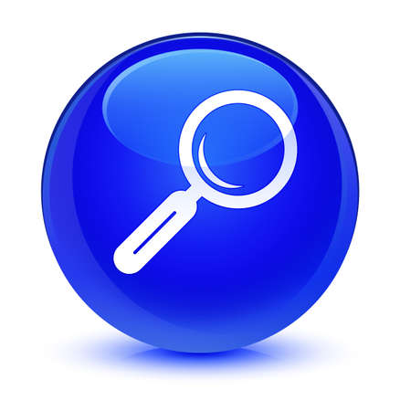 find: Magnifying glass icon isolated on glassy blue round button abstract illustration Stock Photo