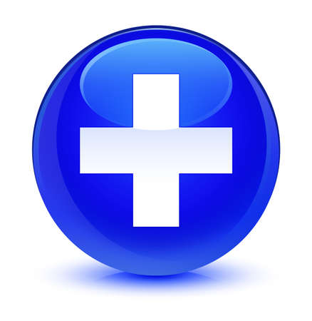 Plus icon isolated on glassy blue round button abstract illustration